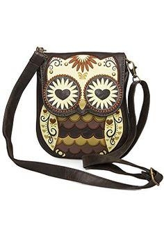Owl with heart eyes crossbody bag