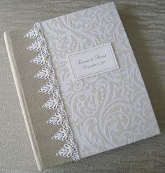 White and Ivory Flocked Wedding Photo Album with by Daisyblu, $70.00