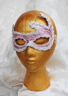 Pink and Silver Brocade Eye Mask by DaraGallery.deviantart.com on @DeviantArt