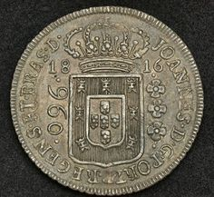 Brazilian Coins 960 Reis Silver Coin of King John VI. French Coins, Gold Bullion Bars, Foreign Coins, Coin Display, Gold Money, Gold And Silver Coins, Gold Stock, Blue Horse, Gold Tips