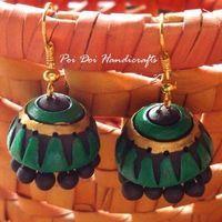 Terracotta Jhumkas - Leaf Green