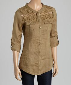 Look at this Olive Crochet-Panel Linen Button-Up Top on #zulily today!