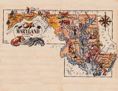 old map of Maryland, a pictorial map by Jacques Liozu, 1946, this is a good source for high quality printable vintage maps and illustrations #oldmapofmaryland #pictorialmaps