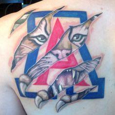 My husband David Varner's new Arizona Wildcat tattoo by  JamieLee Ulmer at Sacred Art Tattoo Tucson Arizona Wildcats BearDown Wildcat4Life wilbur u of a university of arizona uofa