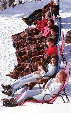 Sunbathers Après-ski in Gstaad.  Photo by Slim Aarons, 1963.