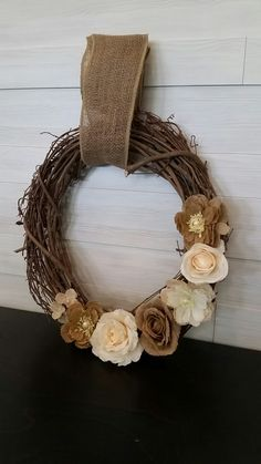 Grapevine Wreath with Flowers Homemade Wreaths, Grapevine Wreath, Grape Vines, Monogram, Bows, Flowers, Arches, Vineyard Vines, Bowties