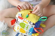 Baby Soft Fabric Developing Activity Cube Rattle Toy by PaffToys