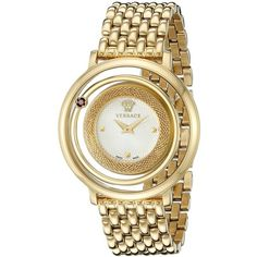 Versace Venus Gold-Tone Stainless Steel Watch ($1,004) ❤ liked on Polyvore featuring jewelry, watches, versace, analog watches, bezel jewelry, bezel watches and water resistant watches