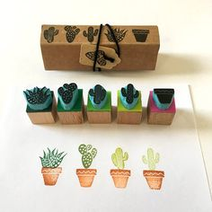 Cactus rubber stamps set of 5 mini stamps hand carved