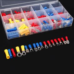 300Pcs Assorted Insulated Electrical Wire Terminals Crimp Connector Spade Set Red Yellow Blue