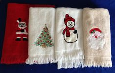 1980's Set of 4 Christmas Embroidered Bath Hand Finger Towels Vintage Holiday Décor by yourmamashouse on Etsy