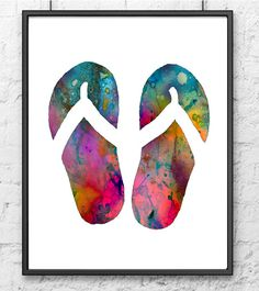 Beach art print Print Illustration Flip flops Art by Thenobleowl