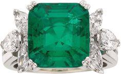 Estate Jewelry:Rings, Colombian Emerald, Diamond, Platinum Ring. ...