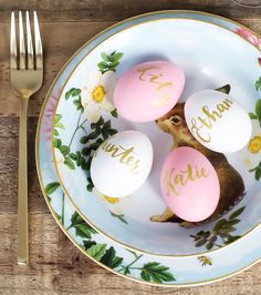 Gold calligraphy eggs with matching gold flatware. @pinkthetown