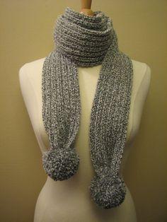 grey mix ribbed scarf with pom-poms