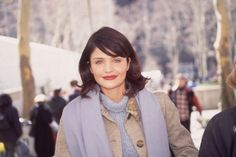 """""""A Look Back"""" is a daily column that highlights a moment from fashion's fabulous past. Today's pick is of model Helena Christensen walking around New York City in 1995. How '90s is her chenille tu..."""