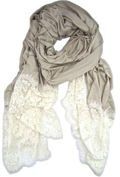 IVORY SCALLOPED LACE TRIM WRAP by Chakmei