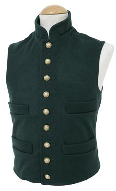 CT030N Military Vest  Nine (small) button front with small stand-up collar, made in quality wool with four exterior pockets and one interior document pocket, lined in either black, brown polished cotton or natural white calico. Fitted with period adjustable buckle at the rear. Choose from Dark Blue, Dark Green, White, Medium Grey, Charcoal, Black, Dark Brown, Medium Butternut. Your choice of buttons from our standard range.