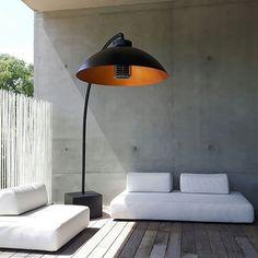 Heatsail Dome Freestanding Electric Patio Heater Floor Lamp in Black - Modern Outdoor Heat Lamp, Outdoor Floor Lamps, Outdoor Dining, Outdoor Decor, Bar Lighting, Outdoor Lighting, Outdoor Heaters, Outdoor Heating Ideas, Best Patio Heaters