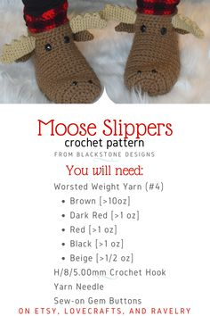 Grab your hooks and make these adorable slippers this weekend! #crochet #crochetpattern #moose #mooseslippers #crochetslippers #giftsforhim #giftsforher