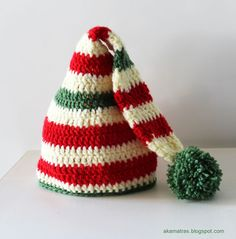 Santa's Helper Hat (For Child) - Free Crochet Pattern - (akamatras.blogspot)