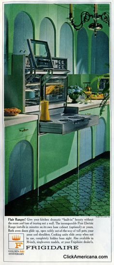 once looked at a house in Bham Al with this EXACT stove.  It looked brand new, It pushes in when not in use.   It was a cool house...but you had to go outside down stairs to a basement to do laundry.  Deal breaker.   Vintage mid-sixties kitchens with Flair ranges (1965)