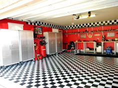 Never thought of red walls for a garage - looks great!
