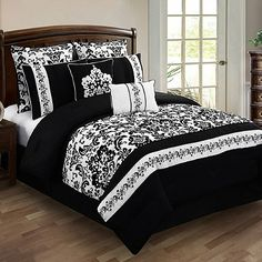 Black and White Bedding Sets For Your Dramatic Bedroom - Home to Z White Bedding, White Bedroom, Dream Bedroom, Damask Bedroom, Love Is In The Air, Queen Comforter Sets, King Comforter, New Room, Bed Spreads
