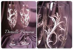 Hand painted wedding glasses by DanielleFigueroaArt on Etsy