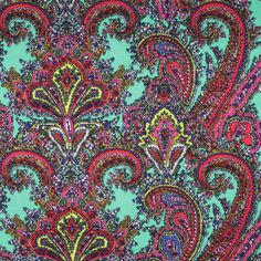 Peacock/Red Paisley Polyester Jersey Knit - Jersey/Knits - Fashion Fabrics