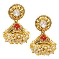 Kriaa Red Austrian Stone Pearl Gold Plated Jhumki Earrings @ Rs. 329/-