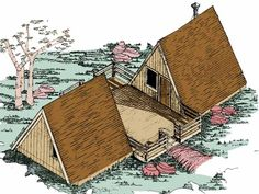 Home Plans HOMEPW16938 - 576 Square Feet, 1 Bedroom 1 Bathroom A-Frame Home with