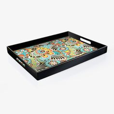 Tray with floral motif.Product: TrayConstruction Material: PolypropyleneColor: BlackDimens...