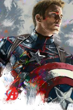 """Painting, """"Captain America"""" - Marvel Fan Arts and Memes Marvel Avengers, Iron Man Avengers, Marvel Art, Marvel Heroes, Captain America Comic, Captain America Costume, Captain Marvel, Captain America Makeup, Captain America Painting"""
