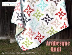 Moda Bake Shop free pattern, Arabesque Quilt by Allison Jensen of Woodberry Way using Bonnie and Camille's Vintage Picnic fabric. @modafabric