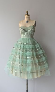 Sea Glass dress vintage 50s dress strapless 50s by DearGolden