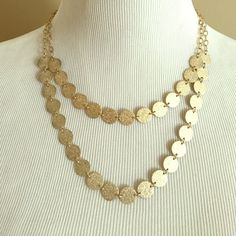 Necklace Matte gold  coin style double layer necklace Jewelry Necklaces