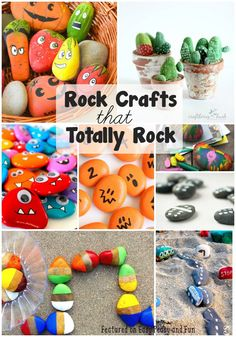 Rock Crafts for Kids that Rock - Easy Peasy and Fun Crafts With Rocks, Rock Crafts, Kids Crafts, Craft Activities For Kids, Summer Crafts, Crafts To Make, Easy Crafts, Projects For Kids, Arts And Crafts