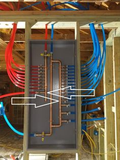 Consider adding in another jump off both the hot and cold water lines. Then run the PEX up into the attic and cap it off. This manifold has two extra lines: one on the cold side and another on the hot side. Water Plumbing, Pex Plumbing, Bathroom Plumbing, Bathroom Fixtures, Plumbing Drains, Welding Table, Outdoor Sinks, Plumbing Installation, Plumbing Problems