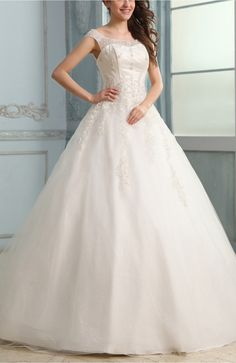 Romantic Outdoor Illusion Lace up Floor Length Bridal Gowns