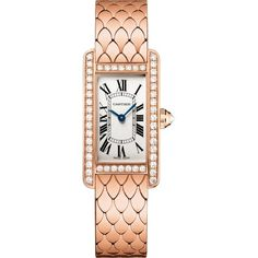 CARTIER Tank Américaine 18ct pink-gold and diamond small watch (55 780 AUD) ❤ liked on Polyvore featuring jewelry, watches, pink gold watches, diamond wrist watch, diamond dial watches, rose gold watches and crown jewelry