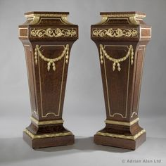 A Pair of Louis XVI Style Mahogany Pedestals Attributed to Sormani - #adrianalan