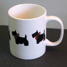 MSRF Inc Design Studio Red Plaid Scarf Scotty Dog Ceramic Coffee Tea Cup Mug