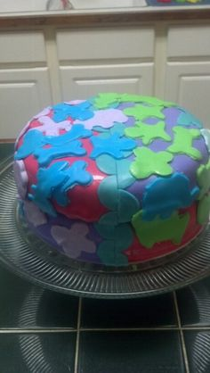 Amy's Crazy Cakes - Cookie Cuter fondant cake. The girls helped me decorate with fondant...fun, fun!