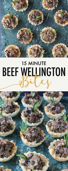 ) - Wry Toast - Ready in just 15 minutes, these Mini Beef Wellington Bites are a decadent appetizer that take barely any effort! Perfect for all your entertaining needs. Fancy Appetizers, Finger Food Appetizers, Finger Foods, Appetizer Recipes, Roast Beef Appetizers, Healthy Appetizers, Mini Beef Wellington, Mini Aperitivos, Snacks Sains
