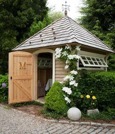 This article contains 15 garden shed ideas. We look at some very interesting and beautiful garden shed to inspire you to create a masterpiece in your garden. Garden Buildings, Garden Structures, Outdoor Buildings, Shed Design, Garden Design, Patio Design, Roof Design, Shed Landscaping, Greenhouse Shed
