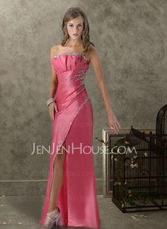 Abendkleider - $133.99 - Fabelhaft A-Linie/Princess-Linie Schulterfrei Bodenlang Taft Abendkleider mit Rüschen  mit Perlen verziert (017004317) http://jenjenhouse.com/de/pinterest-g4317