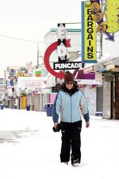 Kim Stewart-Jones of #Wildwood gets her walk in on the #boardwalk despite the #snowy conditions.