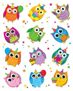 These colorful owl die-cut shape stickers are acid free and lignin free. Includes 72 stickers in 12 assorted colors and owl shapes. Birthday Bulletin Boards, Birthday Board, Owl Clip Art, Owl Art, Diy And Crafts, Crafts For Kids, Arts And Crafts, Owl Theme Classroom, Owl Wallpaper