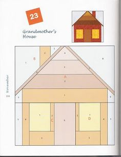 Above is the simplest house quilt block I could draw on EQ that still had the four basic elements of a house; House Quilt Patterns, House Quilt Block, Paper Piecing Patterns, Quilt Block Patterns, Pattern Blocks, Quilt Blocks, Patchwork Quilting, Quilting Projects, Quilting Designs